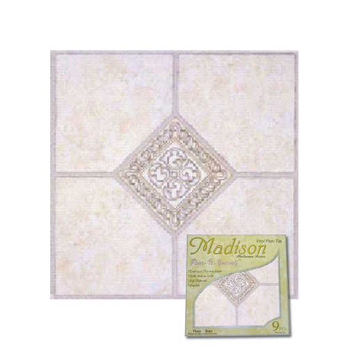 Home Dynamix Madison Vinyl Tile Area Rugs - 2783 Grey Ceramic Accent Scrolls Rug - 12' x 12'