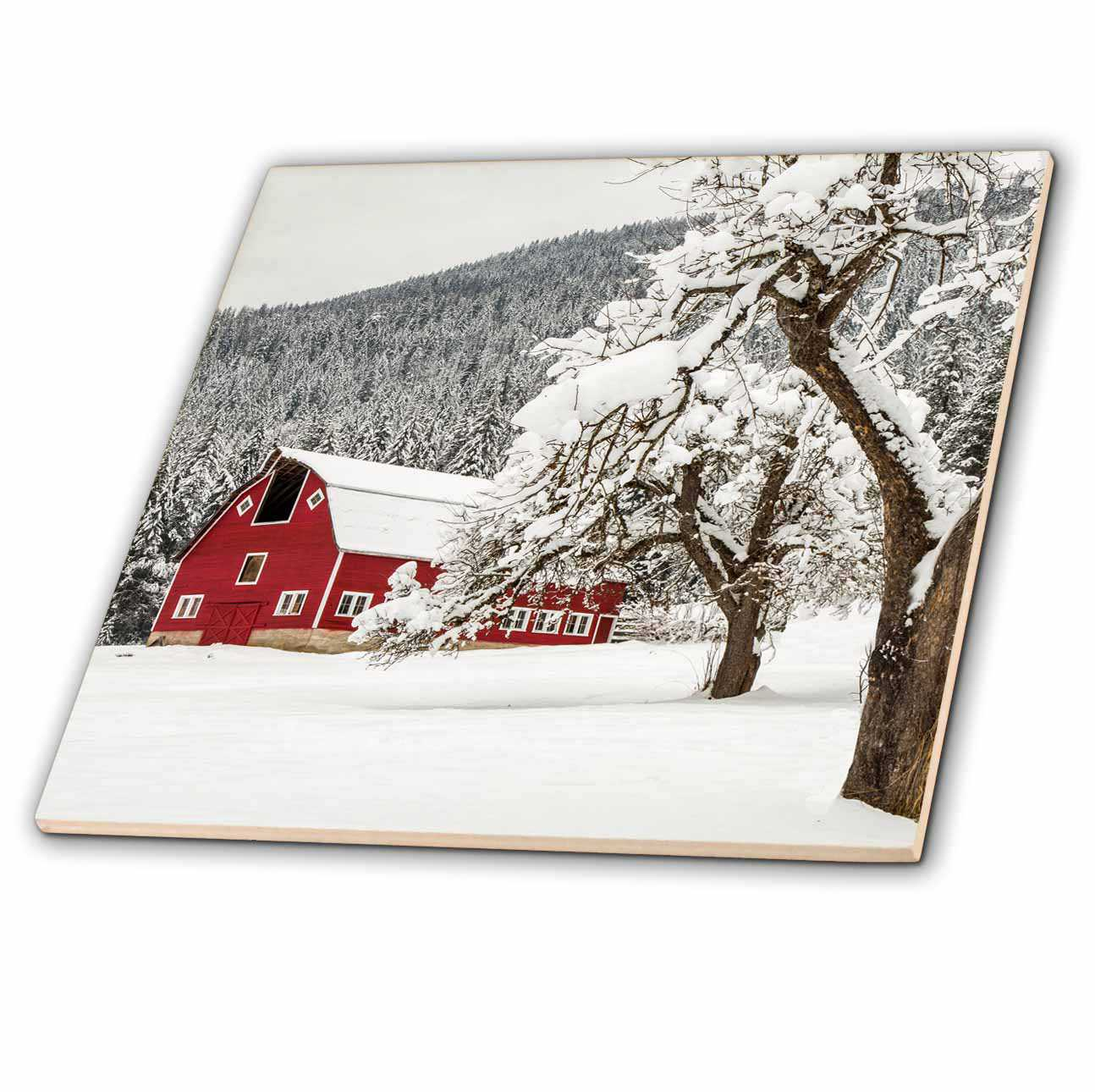 3dRose Fresh snow on red barn near Salmo, British Columbia, Canada. - Ceramic Tile, 8-inch