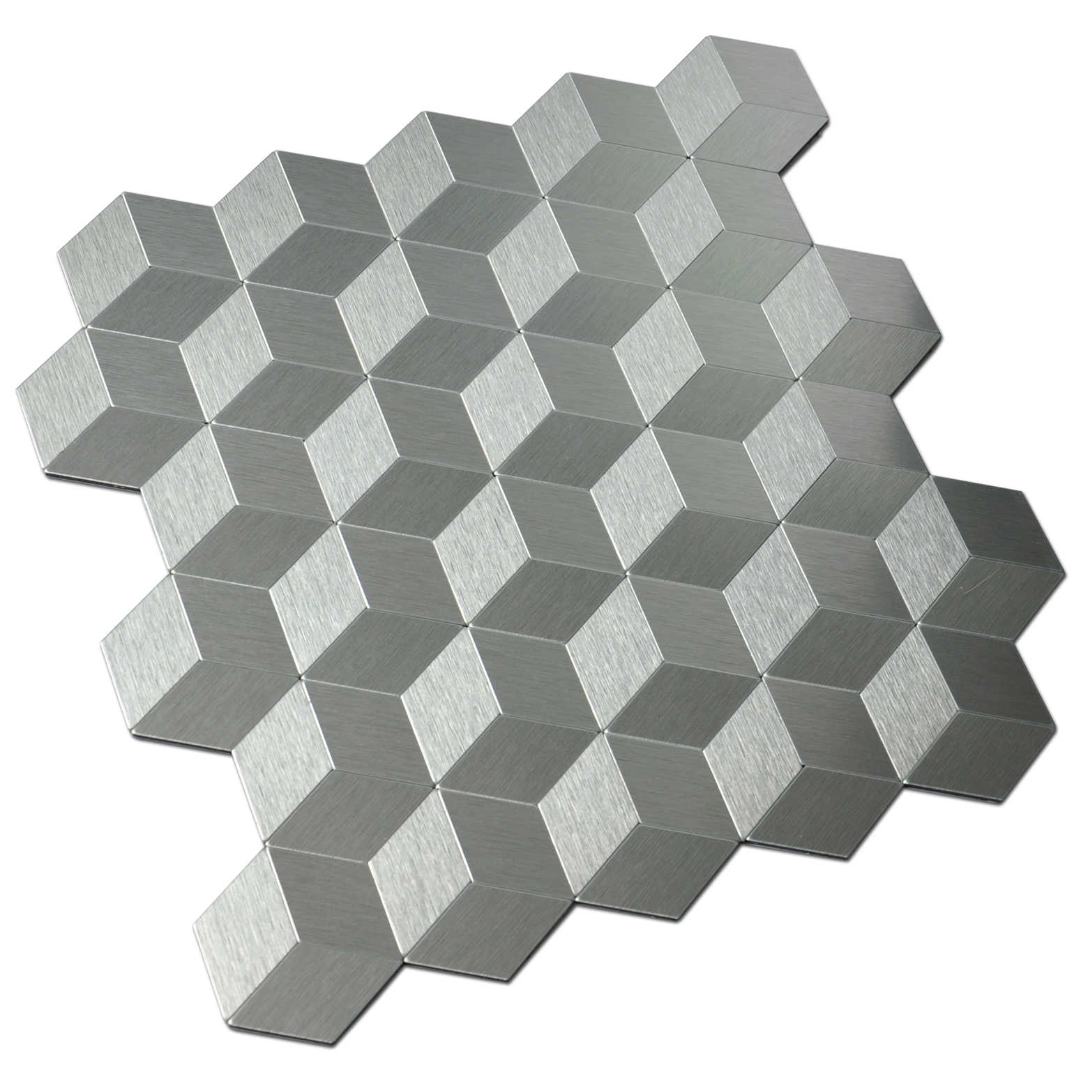 Peel and Stick Metal Backsplash for Kitchen, Cubic Silver, Set of 10