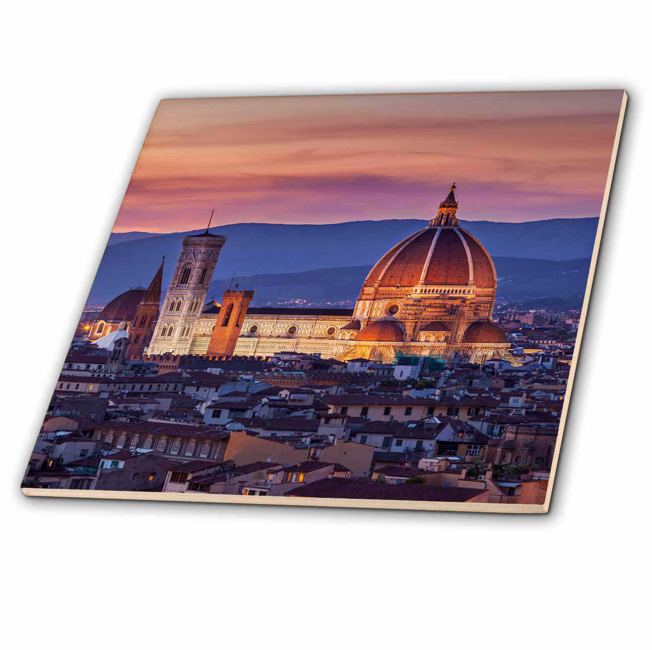 3dRose Twilight over the Duomo, Florence, Tuscany, Italy. - Ceramic Tile, 4-inch
