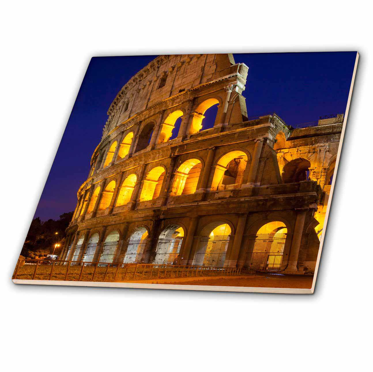 3dRose Cobblestones lead to the Roman Coliseum, Rome, Lazio, Italy. - Ceramic Tile, 4-inch
