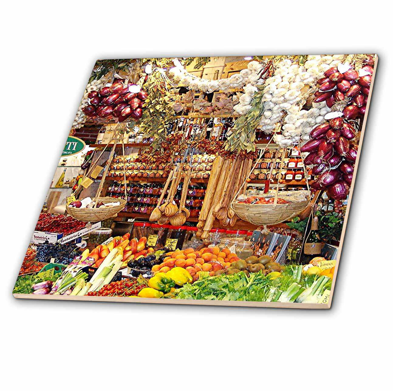 3dRose French. Italian. Food. Cheese. Veggies. Berries. - Ceramic Tile, 4-inch