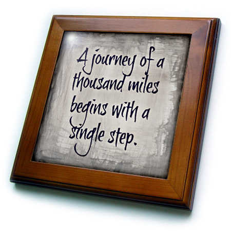 3dRose journey of 1000 miles single step, purple letters on silver background - Framed Tile, 6 by 6-inch