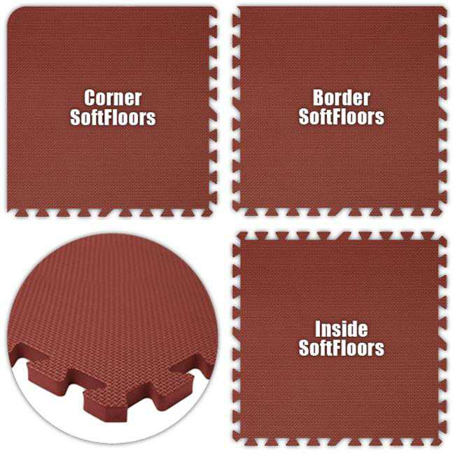 Alessco SFBY3236 SoftFloors -Burgundy -32 x 36 Set